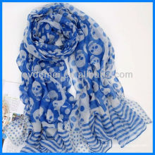 Lady polyester print skull voile scarf