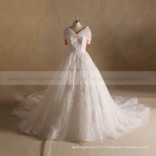 Royal Plissé Cap Manche Lace Appliqyue Perles New Hand Work Design Robe de mariée