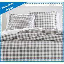 Natürliche graue Plaid-Baumwoll-Duvet-Abdeckung Bettwäsche-Set