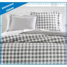 Natural Gray Plaid Cotton Duvet Cover Bedding Set