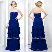 Оболочка Милая Синий Ярусный Кристалл Длина Пола Мать Невесты Платье