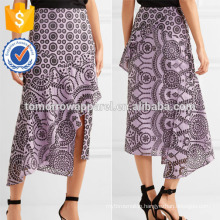 New Fashion Asymmetric Broderie Anglaise Cotton Midi Skirt DEM/DOM Manufacture Wholesale Fashion Women Apparel (TA5086S)