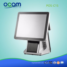 Máquina terminal de la posición de la pantalla táctil de 15 pulgadas todo en una impresora térmica incorporada