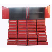 Gabinete de almacenamiento de cajones rojos recubiertos de polvo con ruedas