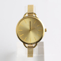 quartz watch Chinese movement sunray dial silver mesh watch, BSCI watch factory