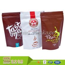 Acepte el plástico impreso de la orden de encargo levante el bolso / la bolsa de la cerradura de la cremallera del polvo del café del papel de aluminio de la categoría alimenticia