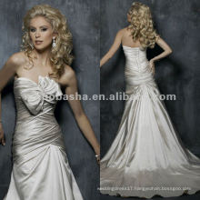 Fit ruched bodice with a bow on bust A-line satin wedding dress/evening gown