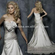 Corpo corpulento ajustado com arco no busto Vestido de noiva de cetim A-line / vestido de noite