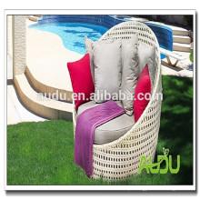 Audu espreguiçadeira ao ar livre cama de sol de rattan cama de sol redonda da praia