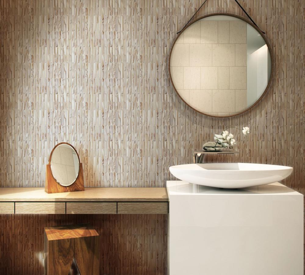 White glass mosaic tiles for bathroom