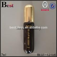 7 ml produits chauds cosmétiques parfum tube verre rouleau bouteille estampage à chaud brun peinture balle forme rouleau sur la bouteille en verre