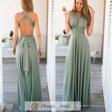 Western Gowns Robes de soirée en mousseline de soie Plissé Longueur de sol Menthe verte Custom Made