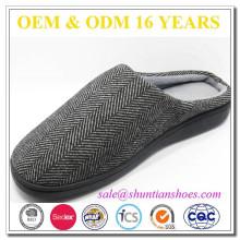 Herringbone superior calçado mens espuma de memória único chinelo