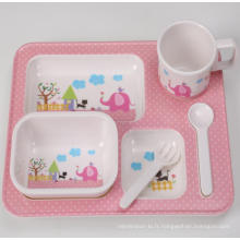 (BC-MK1006) Fashinable Design réutilisable Melamine 5PCS Kids Cute Dinner Set
