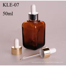 50 ml, botella de vidrio cuentagotas de aluminio ambar cuadrado (klc3)