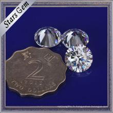 Grande pierre cubique ronde de zircone de la taille 10mm pour des bijoux de mode