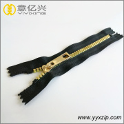 Non lock gold coated teeth plastic zipper
