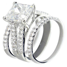 Sterling Silver Cubic Zirconia Wedding Ring Sets