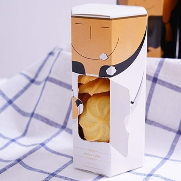 Luxury Hexagon Cute Cookies Box Packaging dengan Jendela