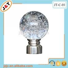 Flexible Metall-Vorhangstange mit dekorativem Glas Vorhangstange Finial
