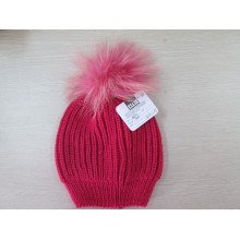 Ladies Knitted Hat with Raccoon Fur Ball