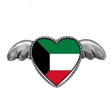 Kuwait Flag Heart with Angel Wings Pins เข็มกลัด