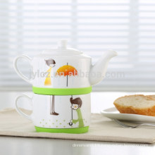 straight design ceramic tea for one wholesale with silicone circle