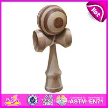 Nuevo juguete de madera Kendama del producto fijado en venta, juguetes superventas de Japón Kendama para los juegos, juguete de madera de Kendama con 18.5 * 6cm W01A020