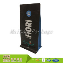 Custom Design Resealable Zipper Aluminum Foil Lined Side Gusseted Stand Up Flat Bottom Black Bag Pouch