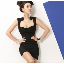 2015 Deep V-Neck Slim Black Sexy Bodycon Evening Club Dress