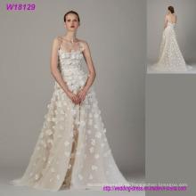 Nueva moda por encargo Puffy Tulle una línea de vestido de novia con flores 3D