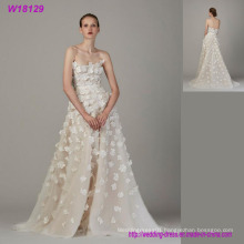New Fashion Custom Made Puffy Tulle A-Line Wedding Dress with 3D Flowers