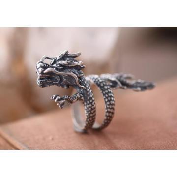 Стерлингового Серебра 925 Мужской Кольцо Gragon Летающий Дизайн Старый Цвет Ретро Мода