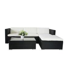 Ensemble de canapé en rotin en noir et noir Meubles de patio pour jardin