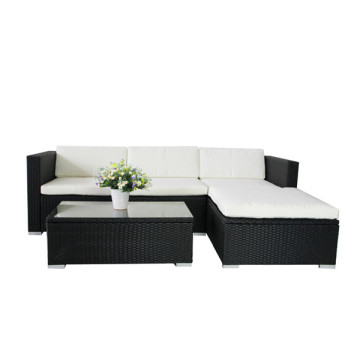 Schwarz Outdoor Rattan Sofa Set Garten Patio Möbel