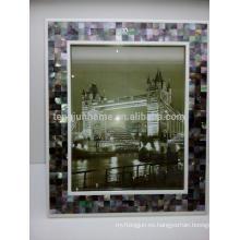 Decoración casera y regalo Marco negro atractivo de la foto de la madreperla