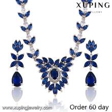 Mode luxe Rhodium feuille-façonné CZ diamant bijoux ensemble pour le mariage (S-19)
