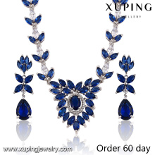 Fashion Luxury Rhodium Leaf -Shaped CZ Diamond Jewelry Set for Wedding (S-19)