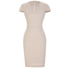 Grace Karin Ladies Sexy Khaki Color Hips Wrapped Cap Sleeve Retro Vintage Pencil Bodycon Dress CL008947-4
