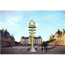 Stainless steel clock sculpture outdoor clock tower