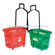 Colourful plastic shopping basket with two castors and Logo printing