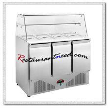 R317 Bancada de Trabalho de Salada de Resfriamento Estático 3 Portas com Vidro Curvado