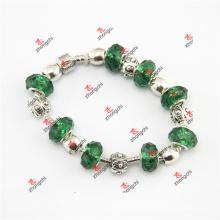 Зелёный браслет из зелёного стекла с бисером (ОАО 60229)