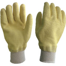 yellow latex cotton interlock liner latex coated gloves
