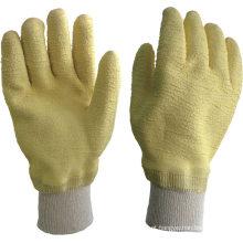 Luvas revestidas com látex de algodão latex de algodão amarelo