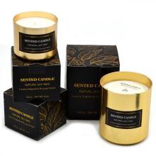 Coffret cadeau de bougie parfumée de luxe de marque privée personnalisée
