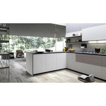 Melamina, laca de alto brillo, PVC, Gabinete de cocina de madera maciza