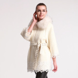 Women's Winter Wool Coat with Removable Raccon Fur Collar