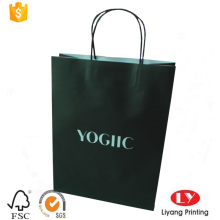shopping bag in carta kraft nera stampata