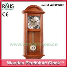 Antique style clock quartz wooden pendulum wall clock for sale